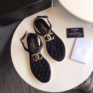 Chanel Lambskin Thong Sandal in black