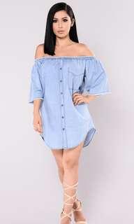 Plus Size Off Shoulder Denim Dress