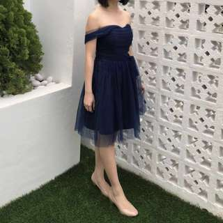 Off Shoulder Dinner Dress Tube Dress Prom Dress Evening Gown Navy Blue #swap