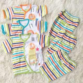 Setelan stelan baju bayi baru lahir velvet junior