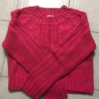 針織短版桃紅上衣