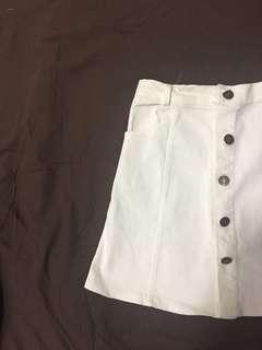 White Button Down Denim Skirt