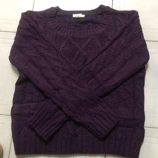 針織短版紫色上衣