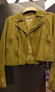 2% Apple Green Leather Jacket