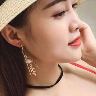 BNIP Leaf Bead Triangle Earrings