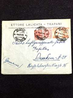 Italy 1921 10c x2 and 20c x2 Emmanuel III Envelope, Trapani to Germany. Misperforation Error Stamp