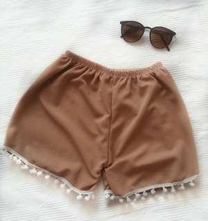 Summer Plain Brown Trimmed Shorts