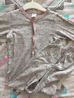 H&M Gray Pink Hearts Long Sleeve Sleepsuit
