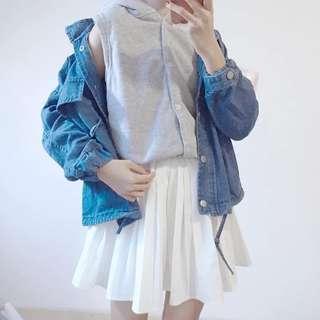 •PO• 2 Piece Denim hoodie jacket + inner top