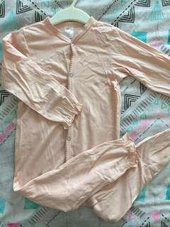 H&M Pink & Gray Long Sleeves Sleepsuit