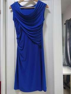 Royal Blue Dress Drape Detail