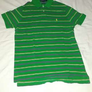 Green Striped Short Sleeved Polo