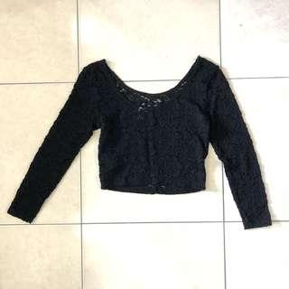 Black Lace Long Sleeves Crop Top
