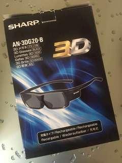 Sharp 3D glasses 眼鏡 叉電 充電式 rechargeable AN-3DG20-B full set