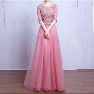 Pink elegant 3/4th sleeve dress / evening  gown instock
