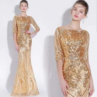 Gold elegant  3/4th dress / evening dress