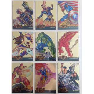 Full Set of 1995 Marvel Metal Gold Blasters (18 Cards) + free sleeves!