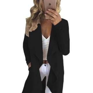 Black Lapel Collar Irregular Hem Knit Trench Coat (Black, Grey and Khaki Colors Available)