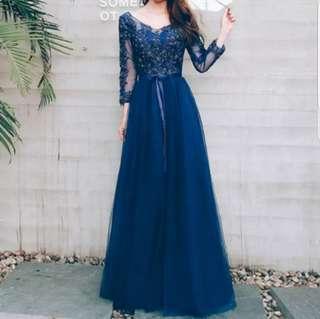 Navy blue crystal dress / evening dress