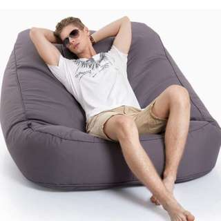 AMBIENT  LOUNGE SATELLITE TWIN SOFA BEAN BAG IN CAREFREE GREY (IN/OUTDOOR)