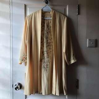 Yellow Embroidered Kimono
