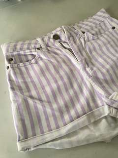 Purple and White Stripes High-Waisted Shorts