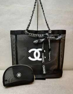 Brand new authentic Chanel silver chain tote set