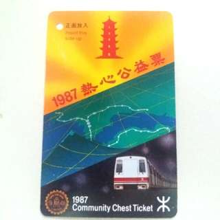 MTR 1987 COMMUNITY CHEST TICKET 地鐵票