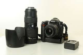 D90 nikon with battery  grip, 70-200mm, 18-55 and charger