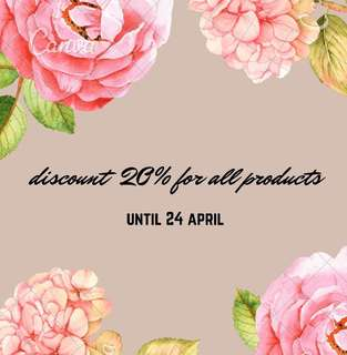 discount 20% for all products
