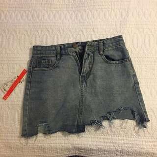 New ripped denim skirt