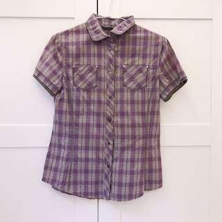 🚚 Mango 格子短袖襯衫