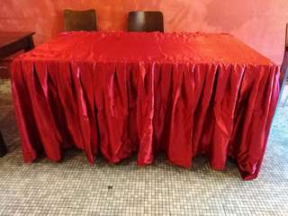 Silky Smooth Red Tablecloth with Skirting