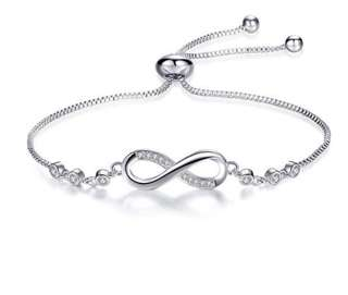White Gold Plated Tiffany' Infinity Trendy Cubic Zirconia Bracelet