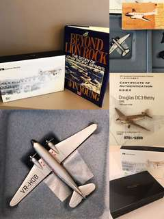 Vintage Cathay Pacific Memorabilia 'THE BETSY' model aeroplane and 'Beyond Lion Rock: The Story Of Cathay Pacific Airways' book