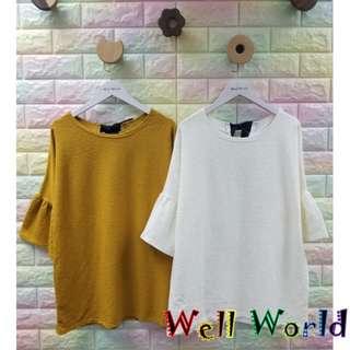#1336 純色淨色綁蝴蝶結喇叭袖七分袖T恤上衣(韓國製造)