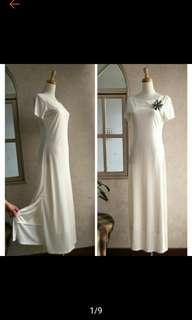 LIFELIKE LINDARICO 意大利名品白色側邊開叉彈性長洋裝