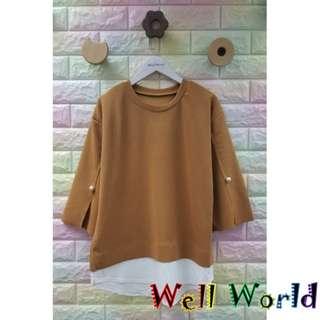 #1360 純色淨色拼接恤衫料珍珠中袖T恤上衣(韓國製造)