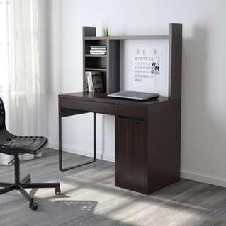 2 x IKEA Micke Desk + Hutch Black/Brown
