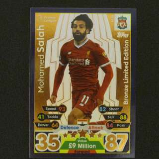 最新 17/18 Match Attax Extra BRONZE Limited Edition - Mohamed SALAH #Liverpool 利物浦