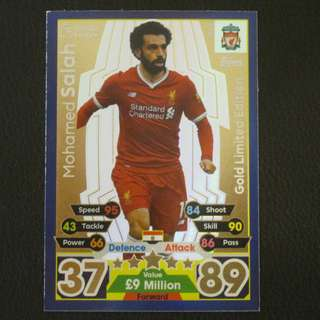 最新 17/18 Match Attax Extra GOLD Limited Edition - Mohamed SALAH #Liverpool 利物浦