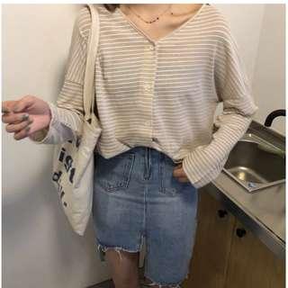 PO Button Long Sleeve Stripe Shirt
