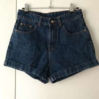 Dark Denim Shorts High Waisted