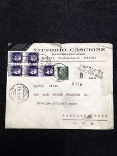 Italy 1933 Registered Envelope 5x 50c + 25c Emmanuel III, Napoli to USA