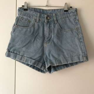 Light Denim Shorts High Waisted