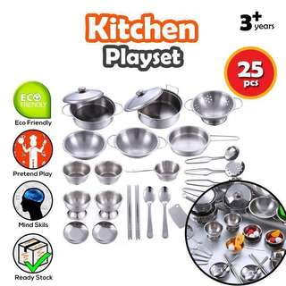BNIB [Pretend Play] Steel Toy Cooking set Kitchen play set