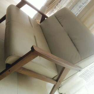 #C - Wooden Sofa Leather (2 seat)