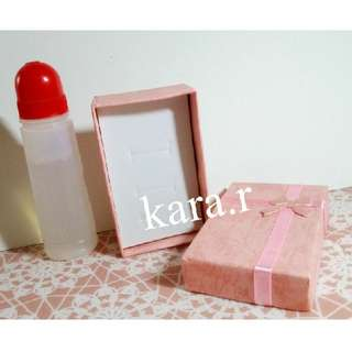 Gift/Presents : For 2 Rings Cardboard Case Holder Storage Rectangle Pink Ribbon