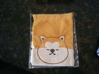 日本帶回 日本雜貨 日本犬 毛絨絨束口袋 全新