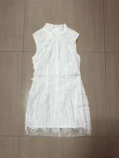 WHITE QIPAO DRESS